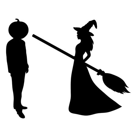 Beautiful witch with a broom and a man with the head of a pumpkin on Halloween party. white background