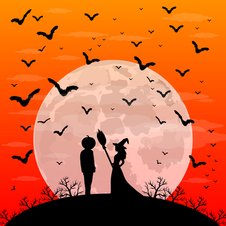 man on the moon: Beautiful witch with a broom and a man with the head of a pumpkin on Halloween sunset patty. night landscape with moon vector illustration