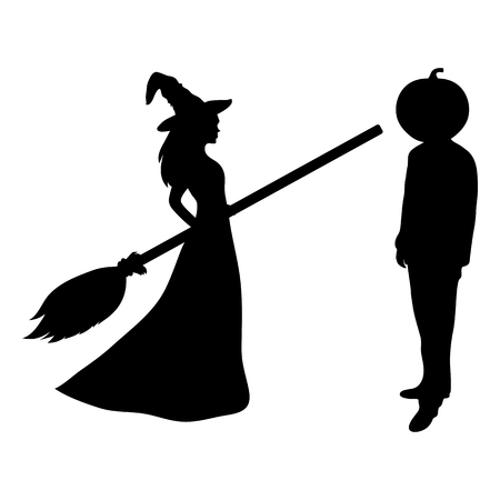 Beautiful melodies witch with a broom and a man with the head of a pumpkin on Halloween patty. white background vector illustration Illustration