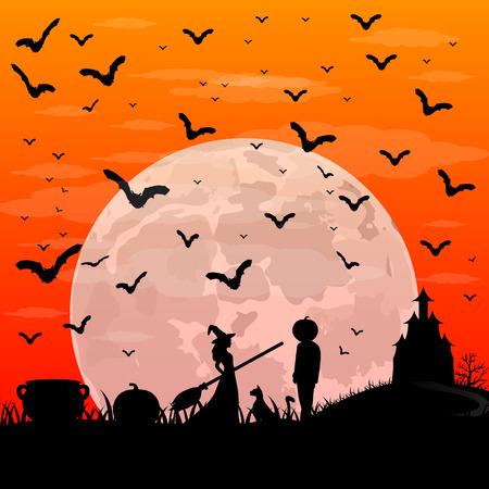 ほうきとハロウィーン日没パティにカボチャの頭を持つ男の美しい魔女。月のベクトル図と夜の風景  イラスト・ベクター素材