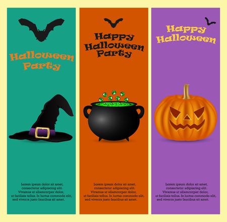 ハロウィーン パーティーに招待。垂直バナー カード セット グリーティング カード、ベクトル イラスト  イラスト・ベクター素材