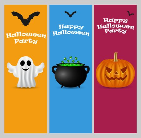 patti: Invitation to a Halloween party. Vertical banner card set greeting card Illustration