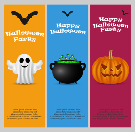 patti: Invitation to a Halloween party. Vertical banner card set greeting card, vector illustration