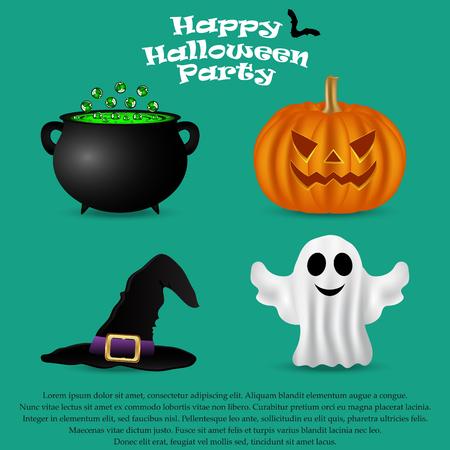 할로윈 파티를 위해 설정합니다. 호박, 마녀 모자, 유령 및 묘약 냄비, 벡터 일러스트 레이 션
