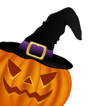 wicked: Wicked pumpkin for Halloween in a witches hat. Jack Lantern, vector illustration Illustration