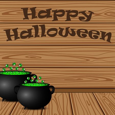 cast iron: Pot with a potion witch on a background of the wooden planks on Halloween