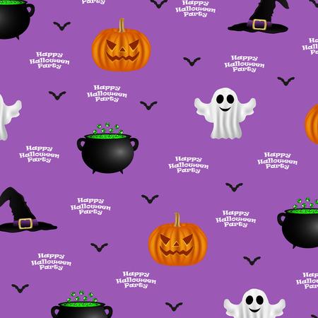 紫色の背景、背景デザイン パーティーのためにハロウィーンのパターン  イラスト・ベクター素材