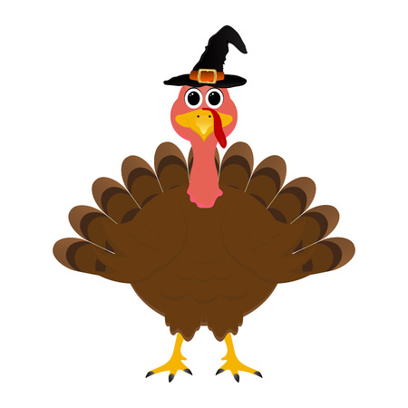 Turkey in hat on Thanksgiving Day, vector illustration Illustration