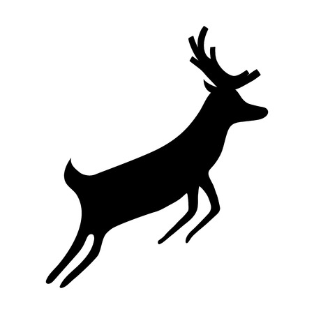 dignified: Reindeer isolated on white background. Silhouette of deer, vector illustration Illustration