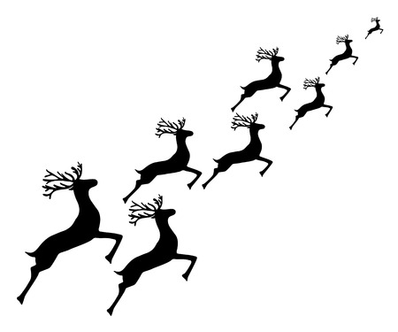 dignified: Reindeer running on a white background, vector illustration