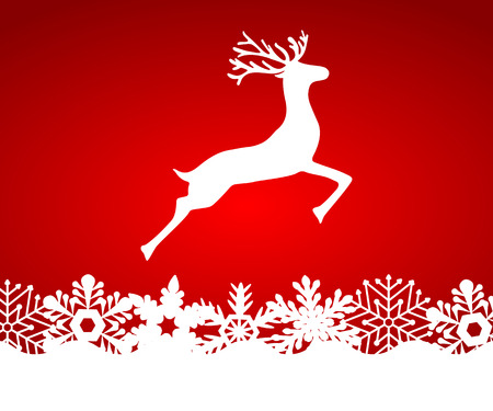 leaping: Reindeer on red background with snowflakes, vector illustration
