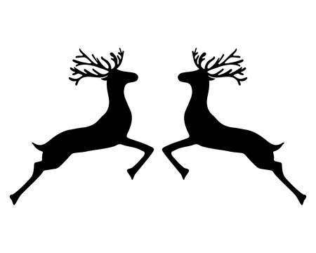 Two reindeer jumping together on a white background, vector illustration