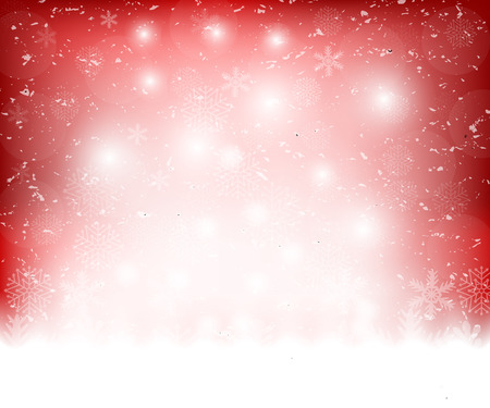 blizzards: Christmas red background with snowflakes, vector illustration