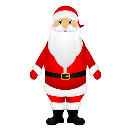 watch new year: Santa Claus standing on a white background, vector illustration