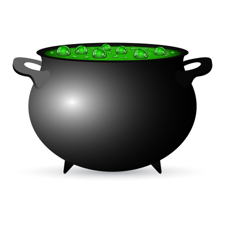cast iron: Postcard invitation to the Halloween party. Pot witches potion, vector illustration
