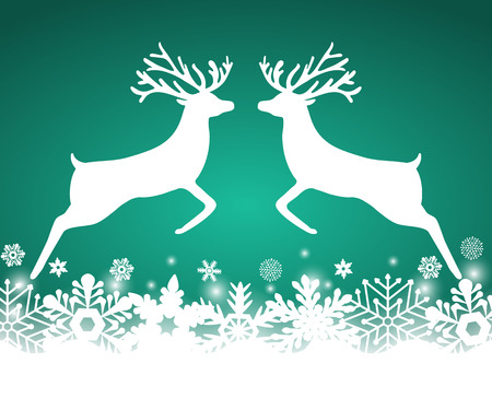 Two reindeer jump to each other on a background with snowflakes, vector illustration