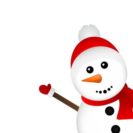 흰색 배경 벡터 일러스트 레이 션에 크리스마스 눈사람 스톡 콘텐츠 - 64098809