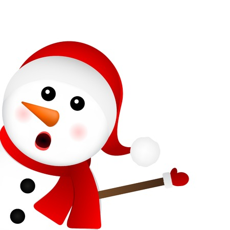 Surprised Snowman on a white background looks out from the side, vector illustration