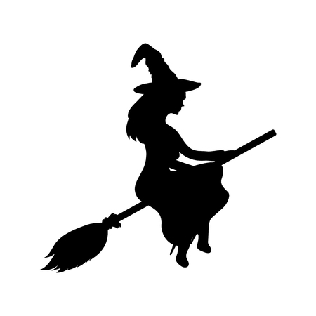 enchantress: Young witch flying on a broomstick silhouette on a white background. ghost woman vector illustration