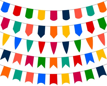 bannerette: Collection of festive decorative flags for the holiday on a white background, vector illustration