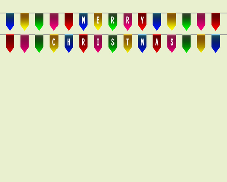 bannerette: Decorative flags on greeting card template for a happy Christmas