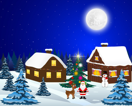 Night christmas forest landscape. Santa Claus with reindeer and a snowman in the village near the Christmas tree Illustration
