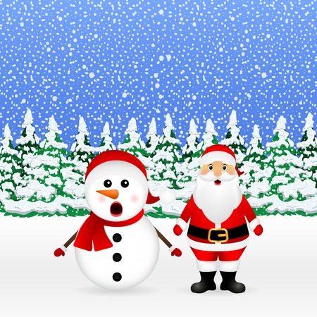 Santa Claus and Christmas snowman in a snowy forest are standing, vector illustration Illustration