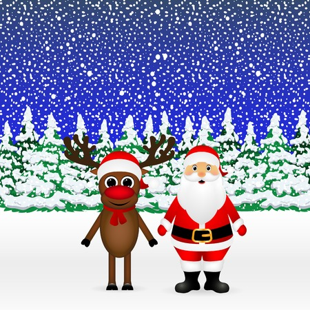 yea: Santa Claus and Christmas reindeer are standing in a snowy forest, vector illustration