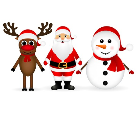 Santa Claus with reindeer and a snowman standing on a white background, vector illustration Stock Illustratie
