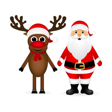yea: Santa Claus and Christmas reindeer are standing on a white background, vector illustration Illustration