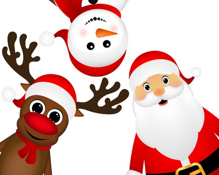 Santa Claus with reindeer and a snowman on a white background, vector illustration