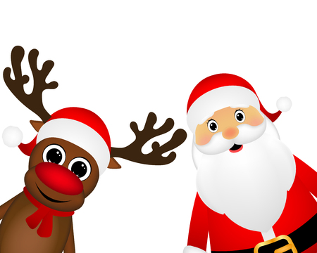 Snowman and Santa Claus look out the side on a white background