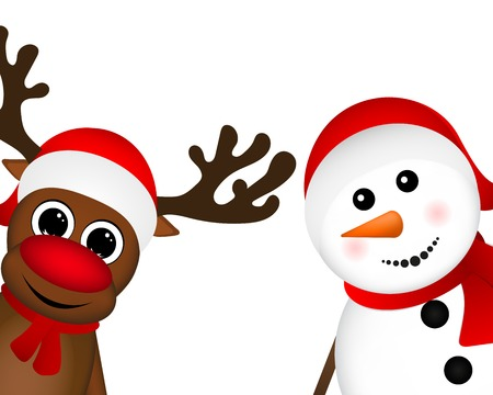 Snowman and Reindeer peeking sideways on a white background Çizim