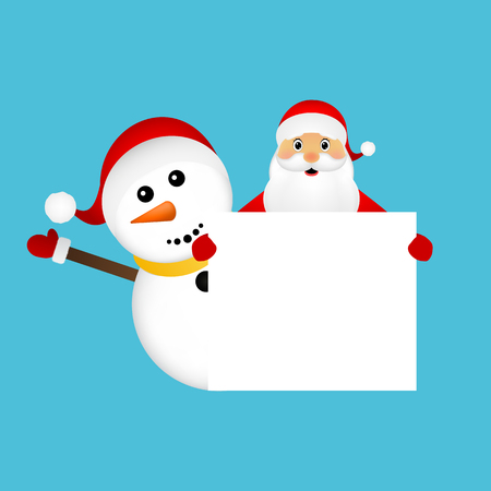 watch new year: Santa Claus and snowman with white blank banner banner Illustration