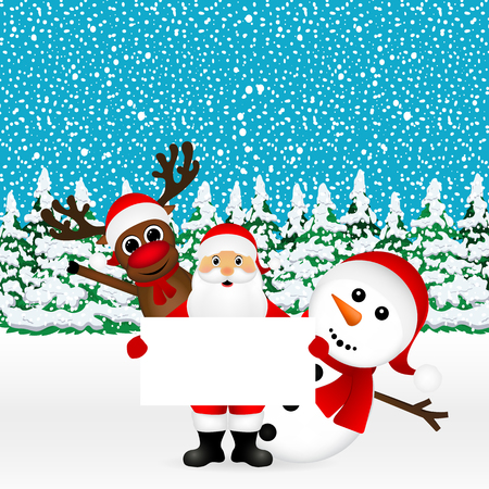 Santa Claus with snowman and reindeer peeking out from behind a large white poster in the forest