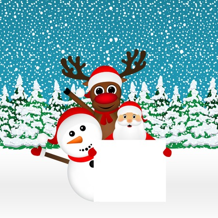 grandfather frost: Santa Claus with snowman and reindeer peeking out from behind a large white poster in the forest