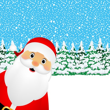 Santa Claus standing in the forest vector illustration holiday Illustration