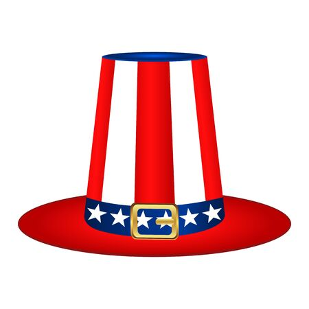 pilgrim costume: Hat with American flag image on white background vector