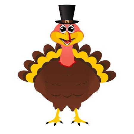 Turkey Pilgrimin hat on Thanksgiving Day, vector illustration Illustration