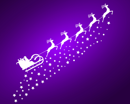 Santa Claus in sled rides in the sled reindeer on a purple background