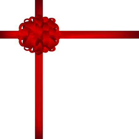 packaged: Gift in a box with a red bow on a white background vector Illustration