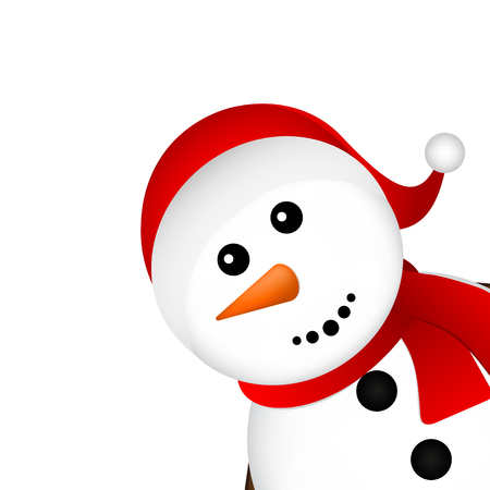 Christmas Snowman on white background vector illustration Çizim