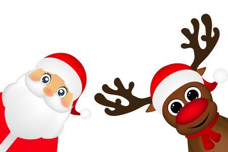Muñeco de nieve y Santa Claus se asoman al lado sobre un fondo blanco