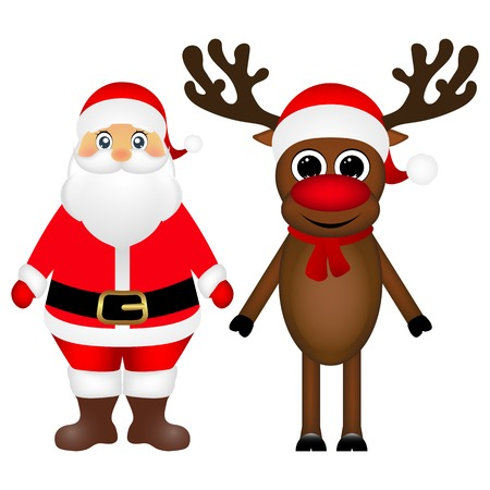 Santa Claus and Christmas reindeer are standing on a white background, vector illustration Illustration