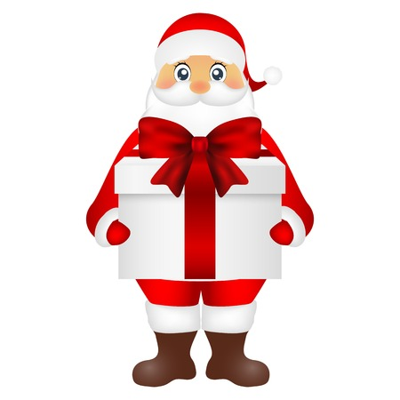 Santa Claus with a gift on a white background
