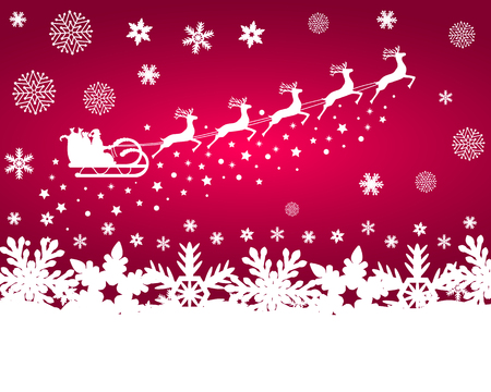 santa sleigh: Santa Claus in sled rides in the sled reindeer on a purple background with snowflakes and glitter