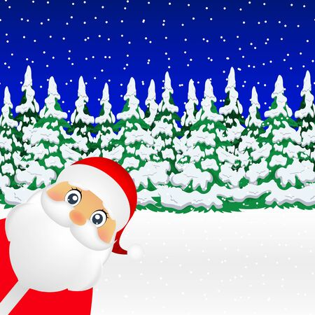 Santa Claus standing in the forest vector illustration holiday Çizim