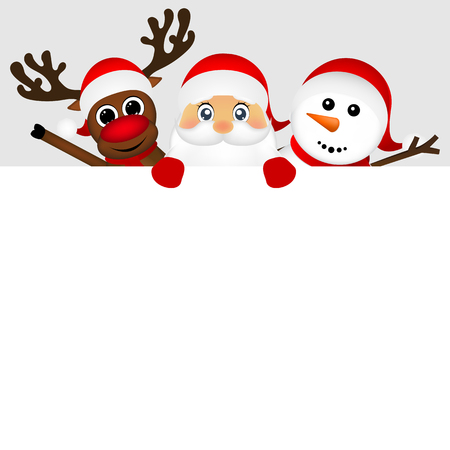 De Kerstman met sneeuwman en rendieren gluren uit van achter een grote witte poster