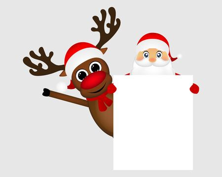 grandfather frost: Santa Claus and reindeer with a blank white placard banner vector