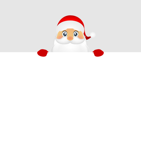 grandfather frost: Santa peeping from behind a big white poster vector Illustration